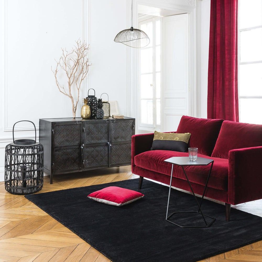 Canapé 2 places en velours bordeaux Kant