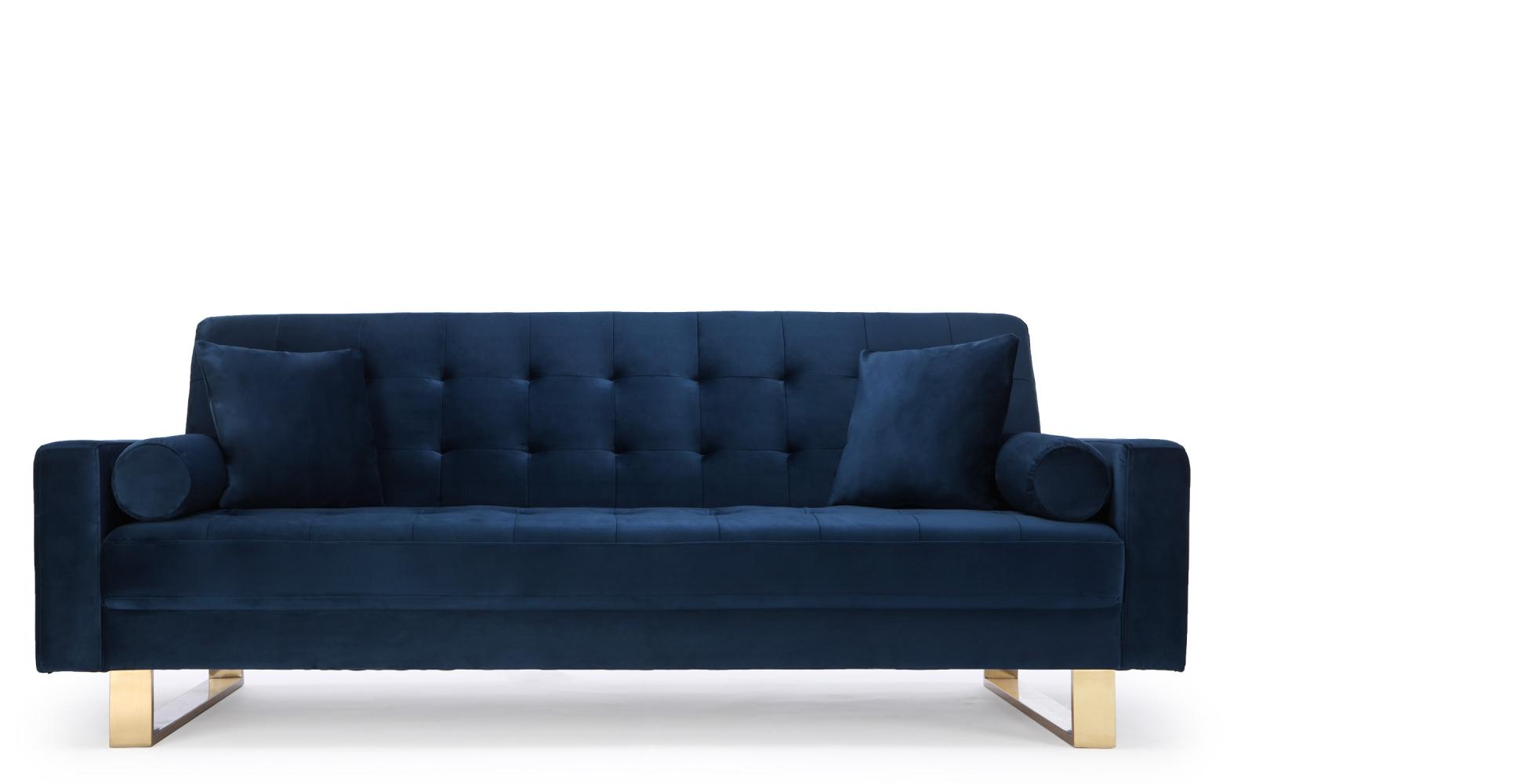Canapé convertible design en velours bleu Midnight