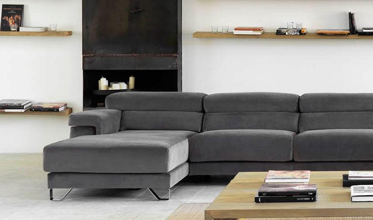 Canapé d angle en velours avec assise coulissante Cuzco