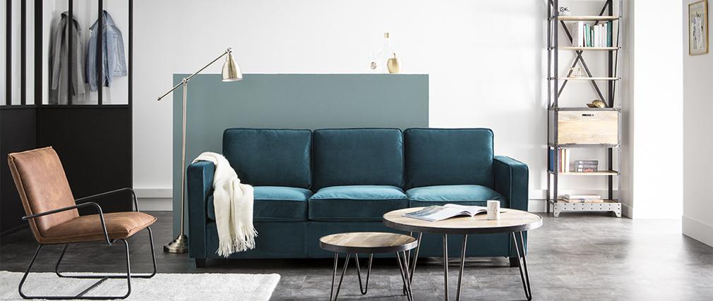 Canapé design velours bleu pétrole 3 places BROOKLYN Miliboo