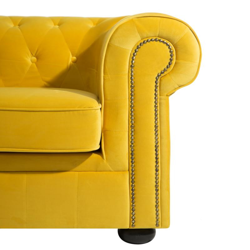 Canapé 2 places Chesterfield velours Jaune AUDREY