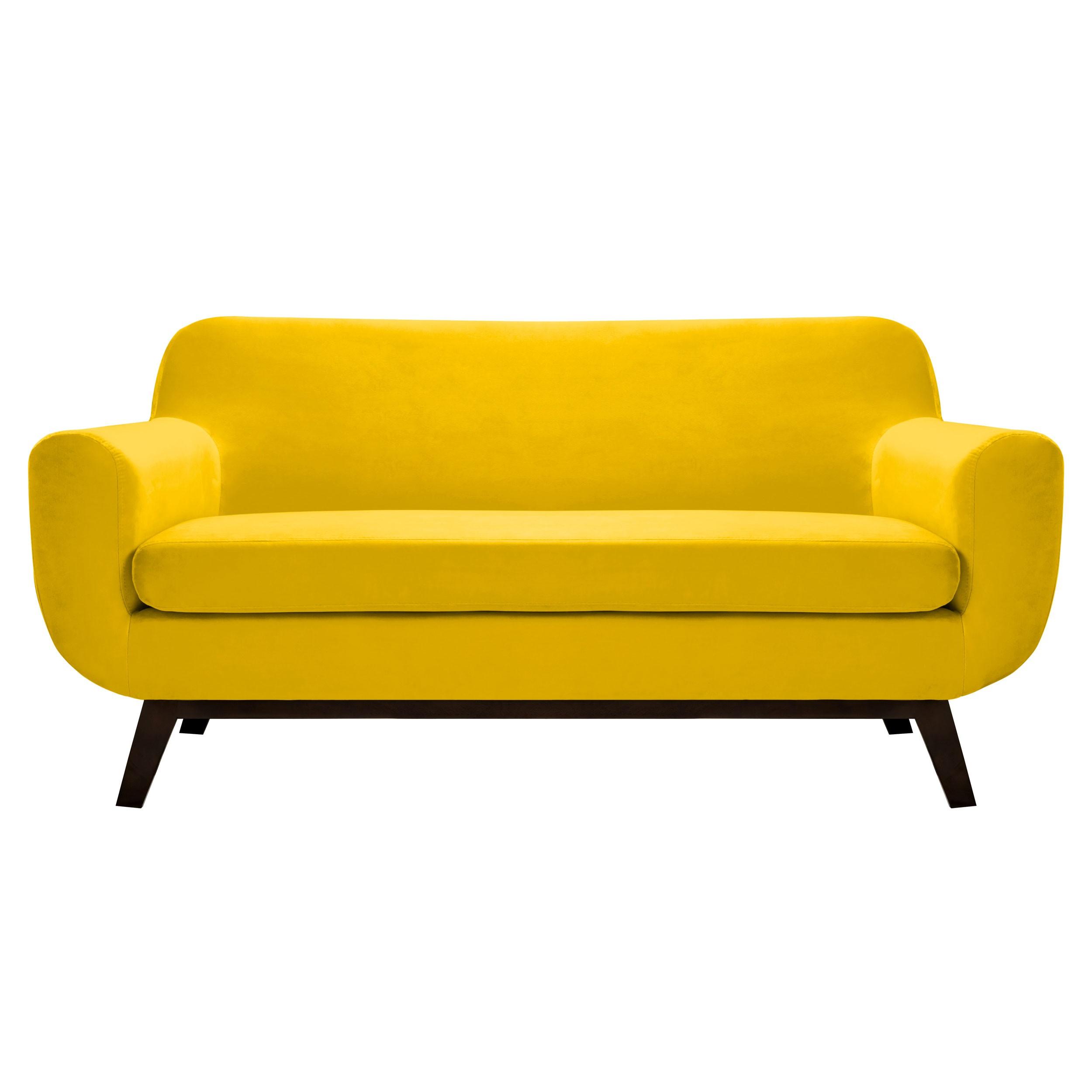 Canapé Copenhague 2 places en velours jaune découvrez