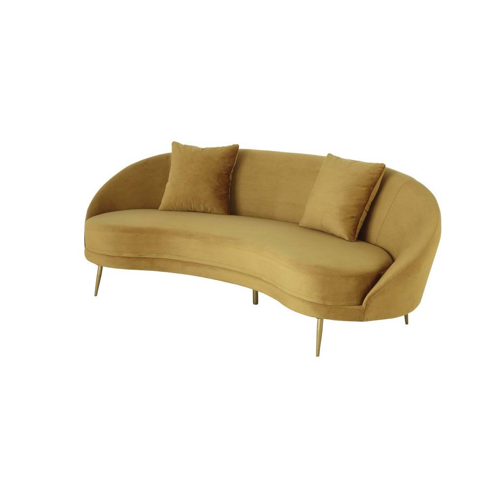 Canapé vintage 3 4 places en velours jaune Glover