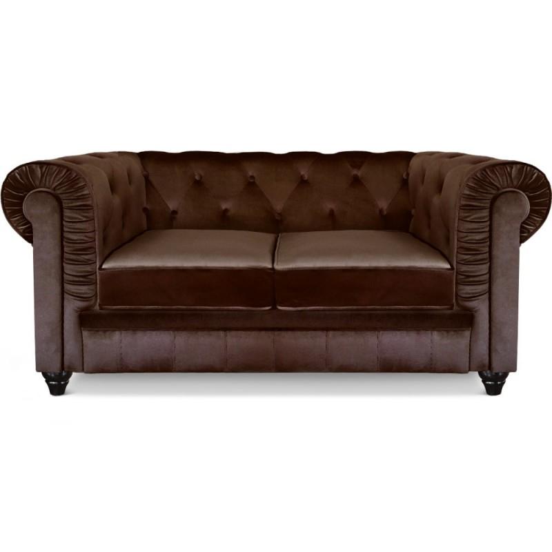 Canapé 2 places Chesterfield Velours Marron pas cher