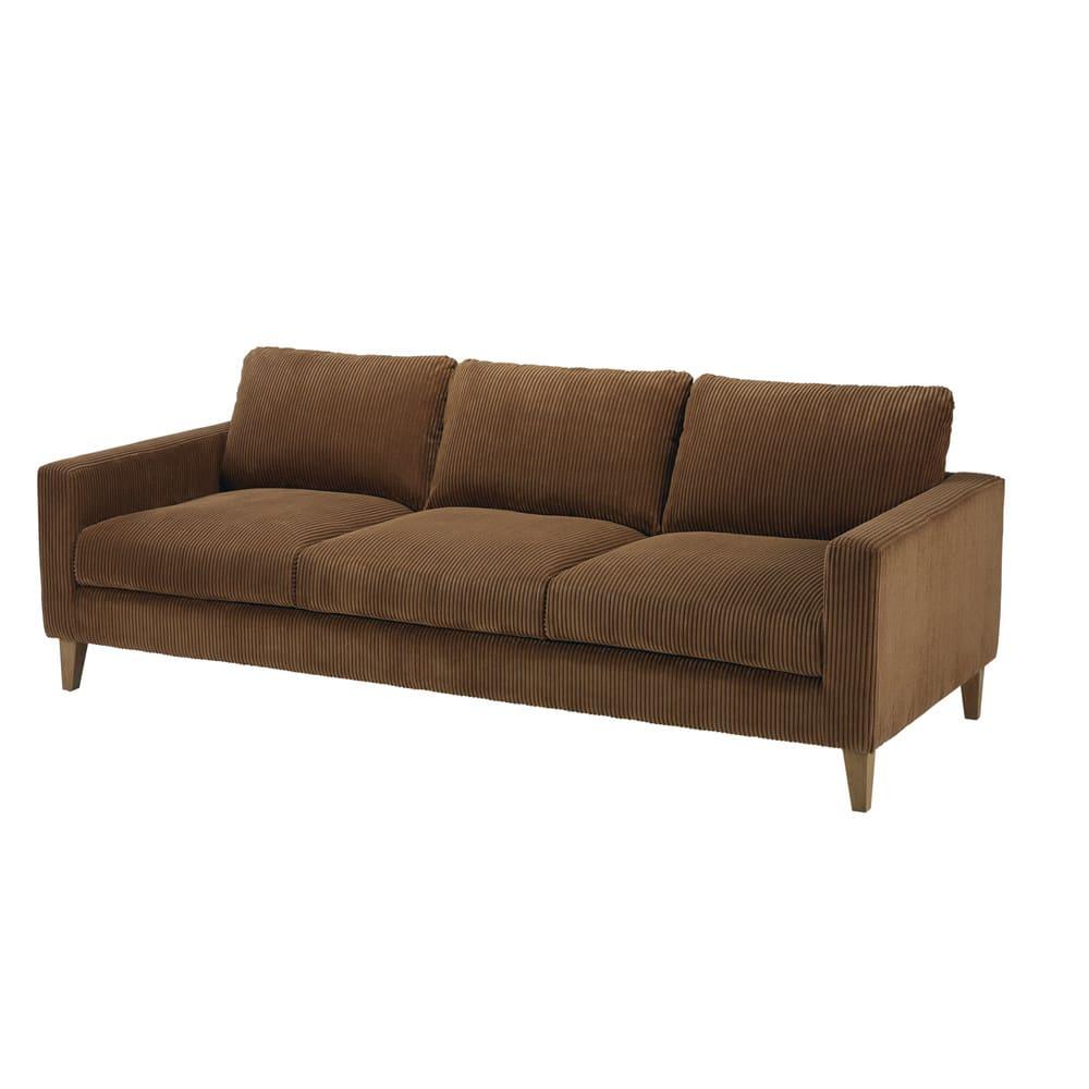 Canapé 4 places en velours côtelé marron Holden