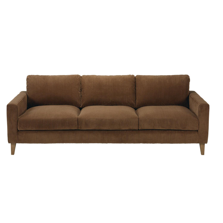Canapé 4 places en velours côtelé marron