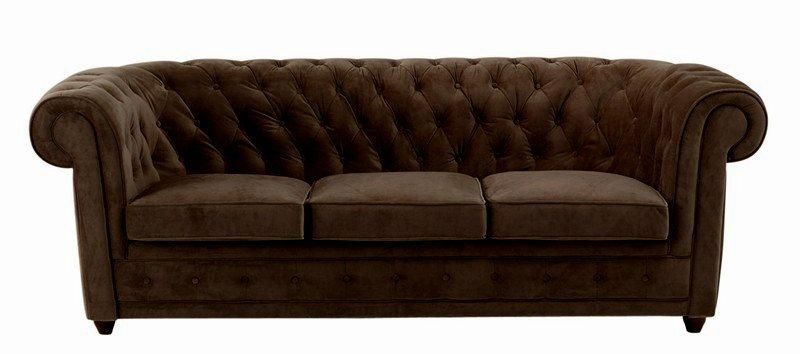 Canape chesterfield 3 places velours marron