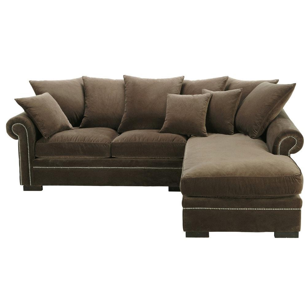 Canapé d angle 5 places en velours marron Plazza