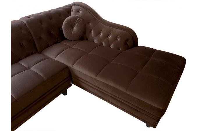 Canapé d angle Brittish gauche Velours Marron style