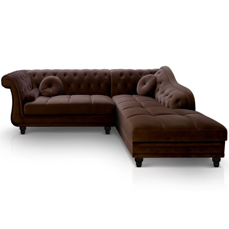 Canapé d angle Brittish Velours Marron style Chesterfield