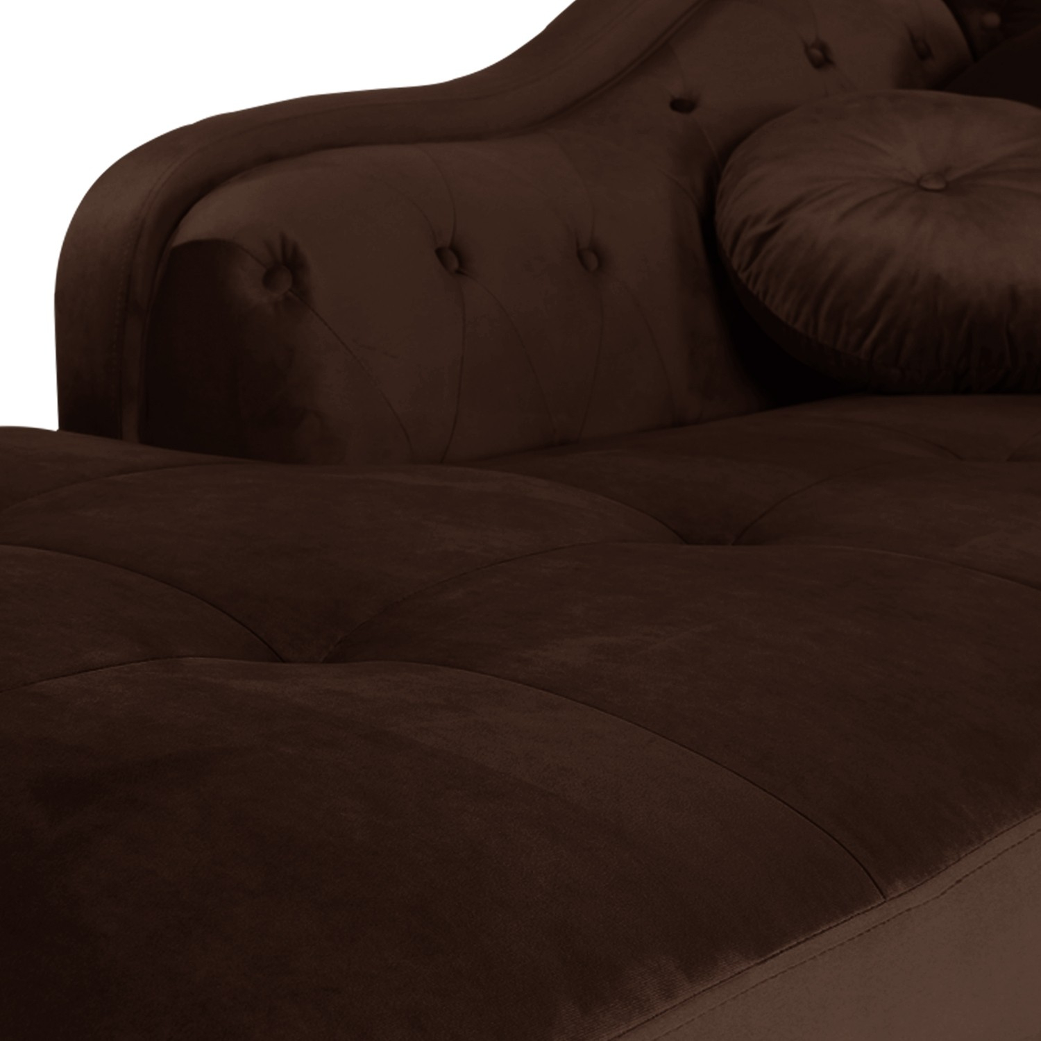 Canapé d angle gauche Empire Velours Marron style Chesterfield