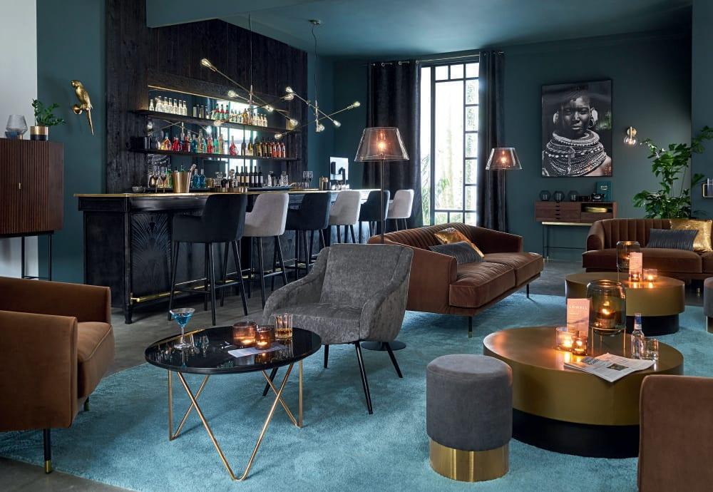 Canapé vintage 3 places en velours marron Costello