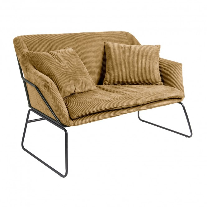 Canapé vintage en velours côtelé Glam 2 Places Marron