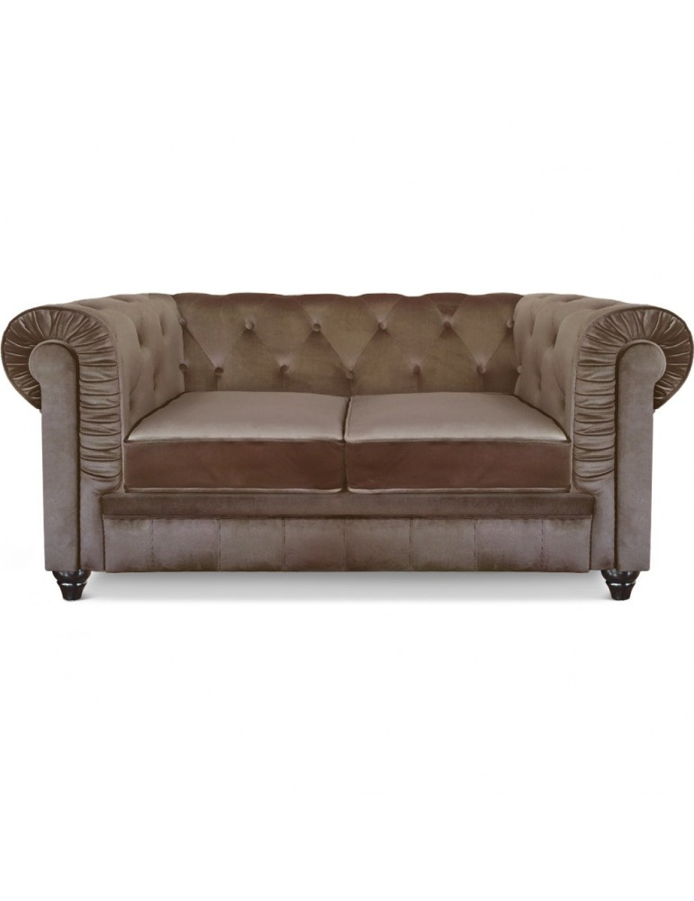 Canapé 2 places Chesterfield Velours Taupe A605V2 Taupe