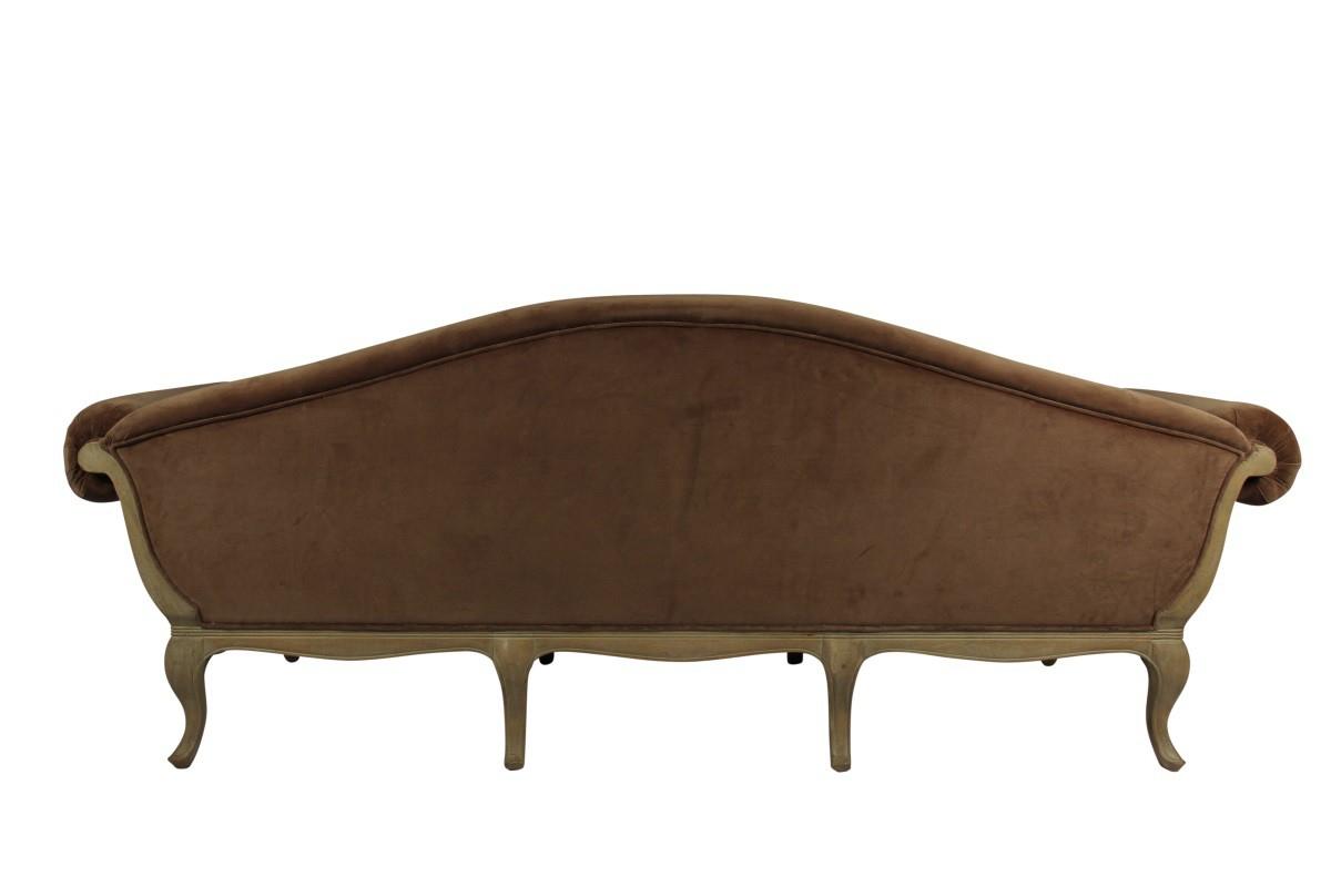 Canapé 3 places Marquise en chêne et velours taupe