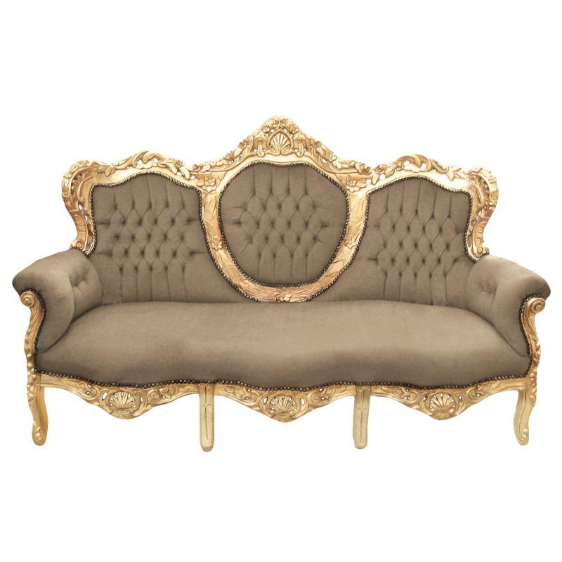 Canapé baroque tissu velours taupe et bois doré