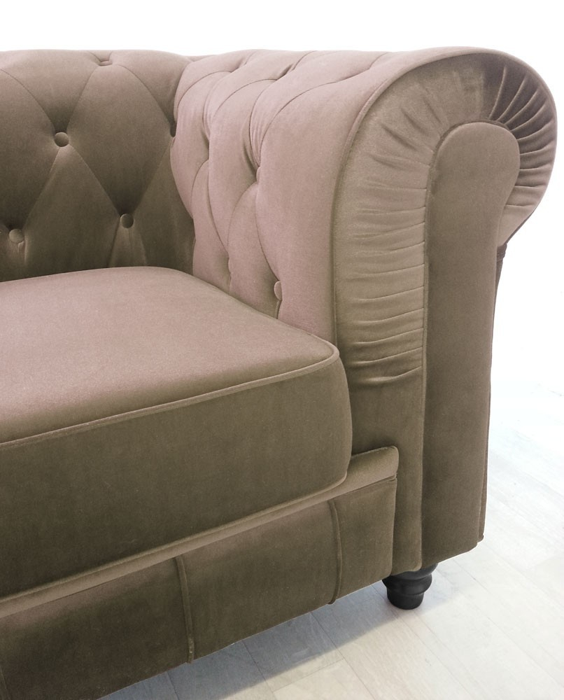 Canape Chesterfield Velours 3 Places Altesse Taupe