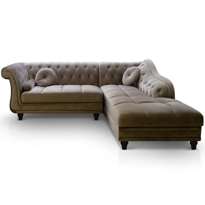 Canapé d angle Brittish Velours Taupe style Chesterfield