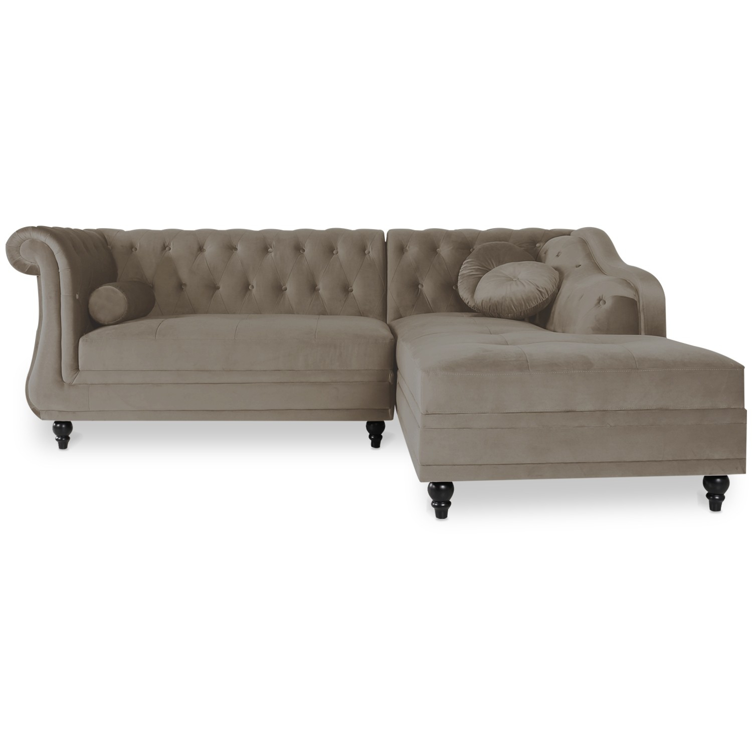 Canapé d angle Droit Empire Velours Taupe style Chesterfield
