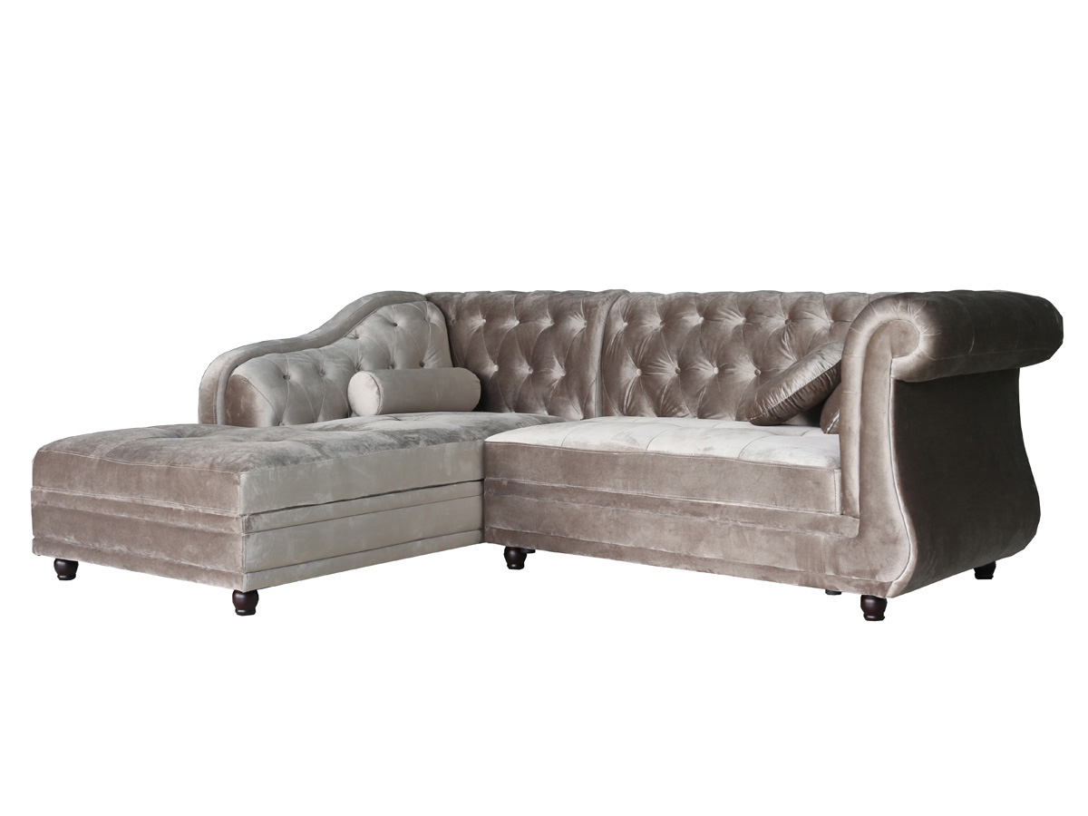 "Canapé d angle tissu chesterfield ""Aliza"" 5 places"