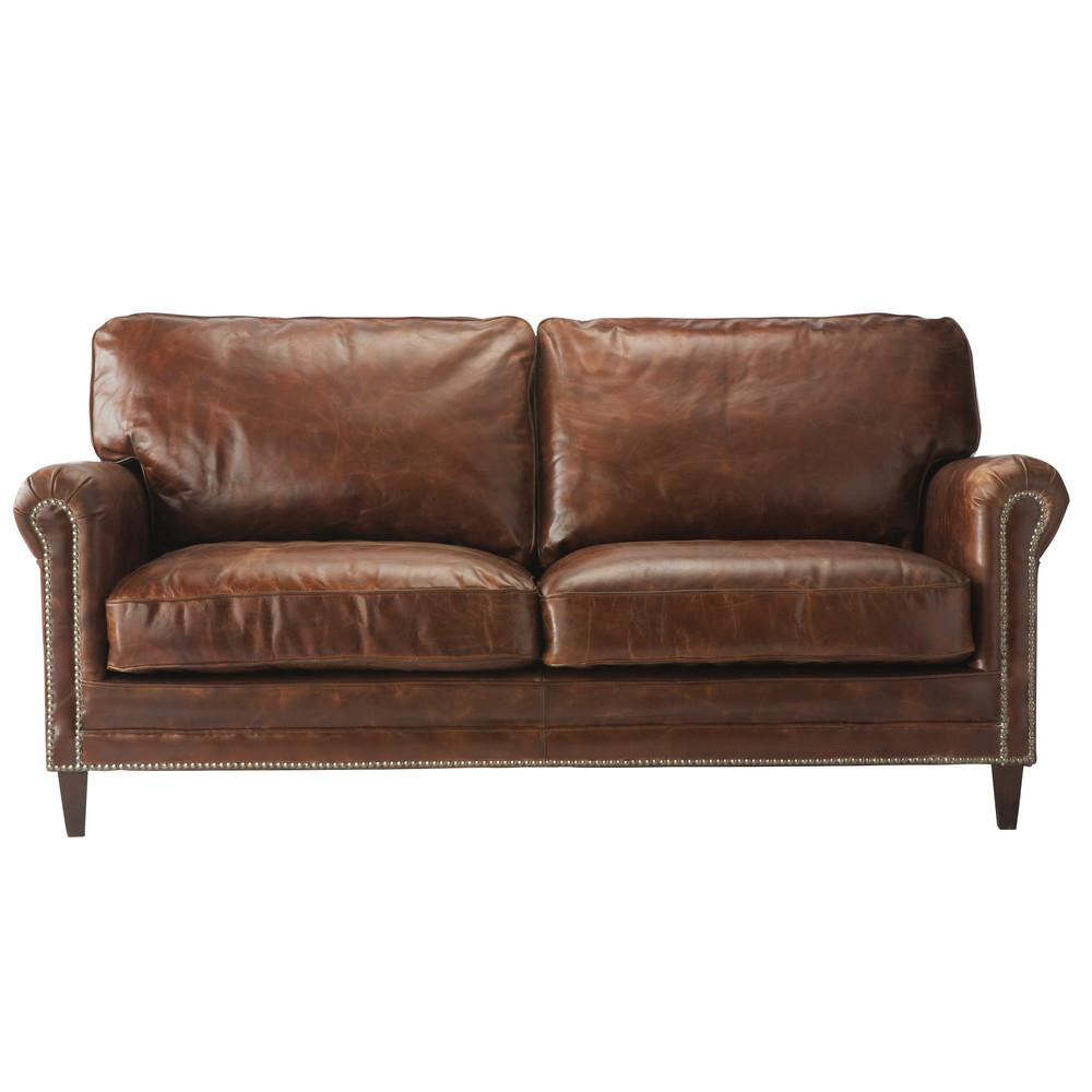 Canapé 2 places en cuir marron Sinatra