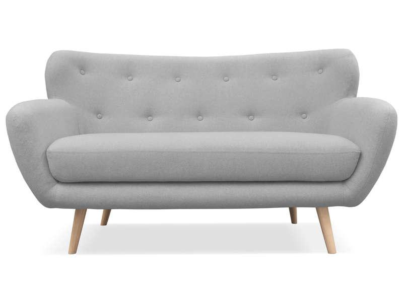 Canapé fixe 2 places en tissu OSLO coloris gris clair