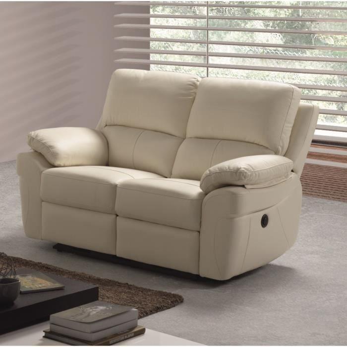 CORCEGA Canapé droit de relaxation en cuir 2 places