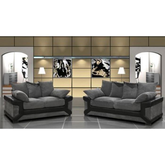 Ensemble canapé 3 2 places gris et noir confortable