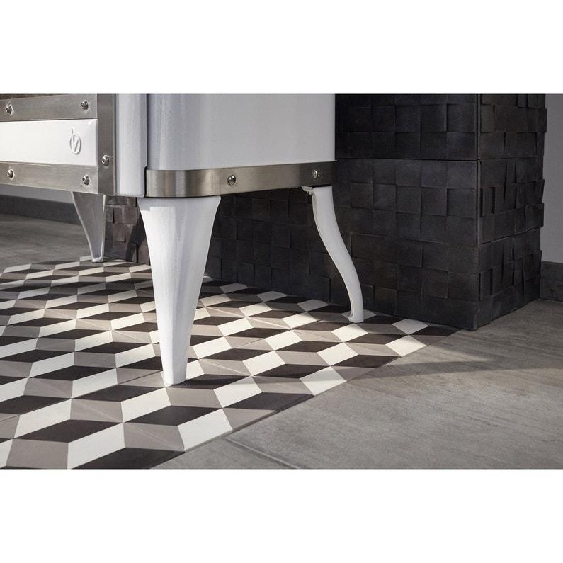 Carreau de ciment sol et mur blanc et noir 3d l 20 x L 20