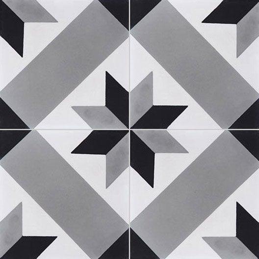Carreau de ciment sol et mur gris et noir Etoile l 20 x L