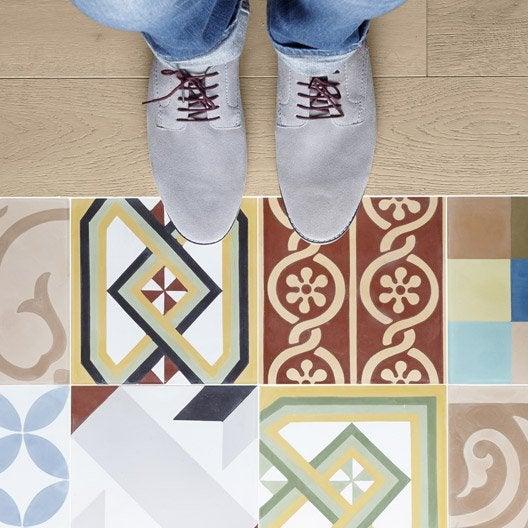 Carreau de ciment sol et mur patchwork multicolore