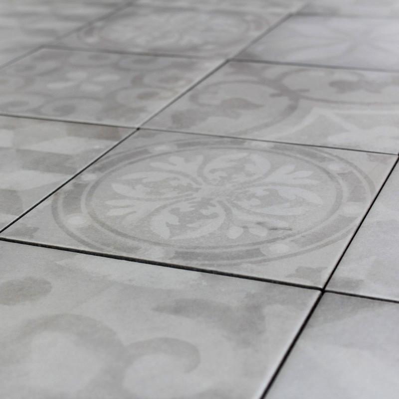 Carrelage sol aspect carreau ciment Bistro Gris Decor 20x20 cm