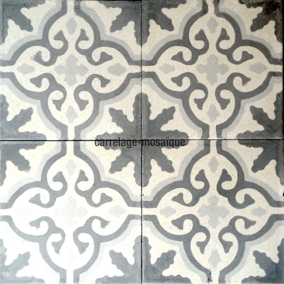carreaux ciment anciens 1m2 modele flore gris carrelage