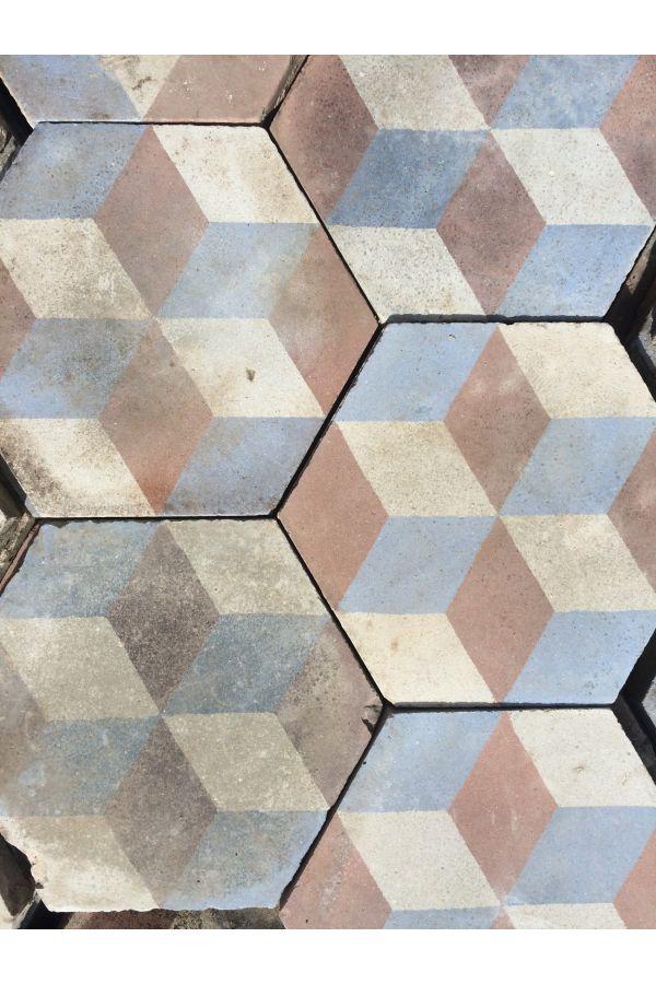 Carrelage de ciment ancien hexagonal trompe l oeil de