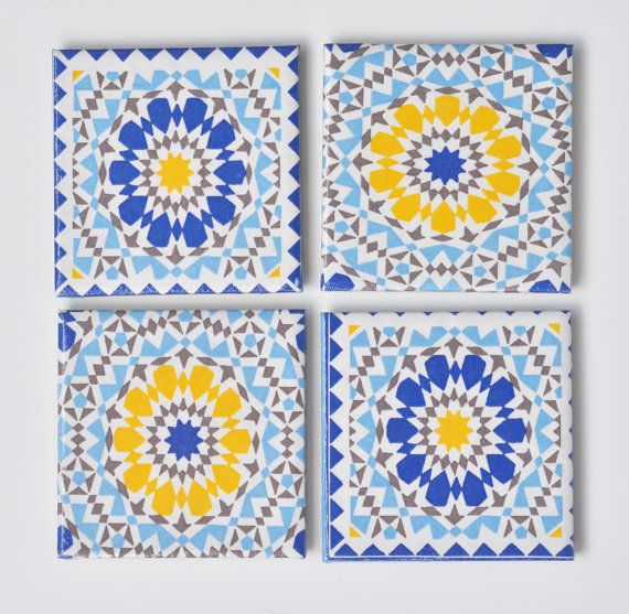 Céramique carreaux sous verres Sevilla bleu et jaune par
