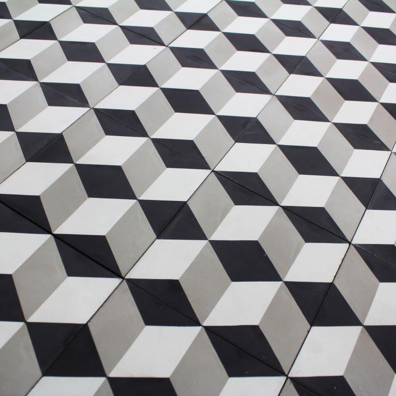 Carreaux De Ciment Gris Et Blanc YO19