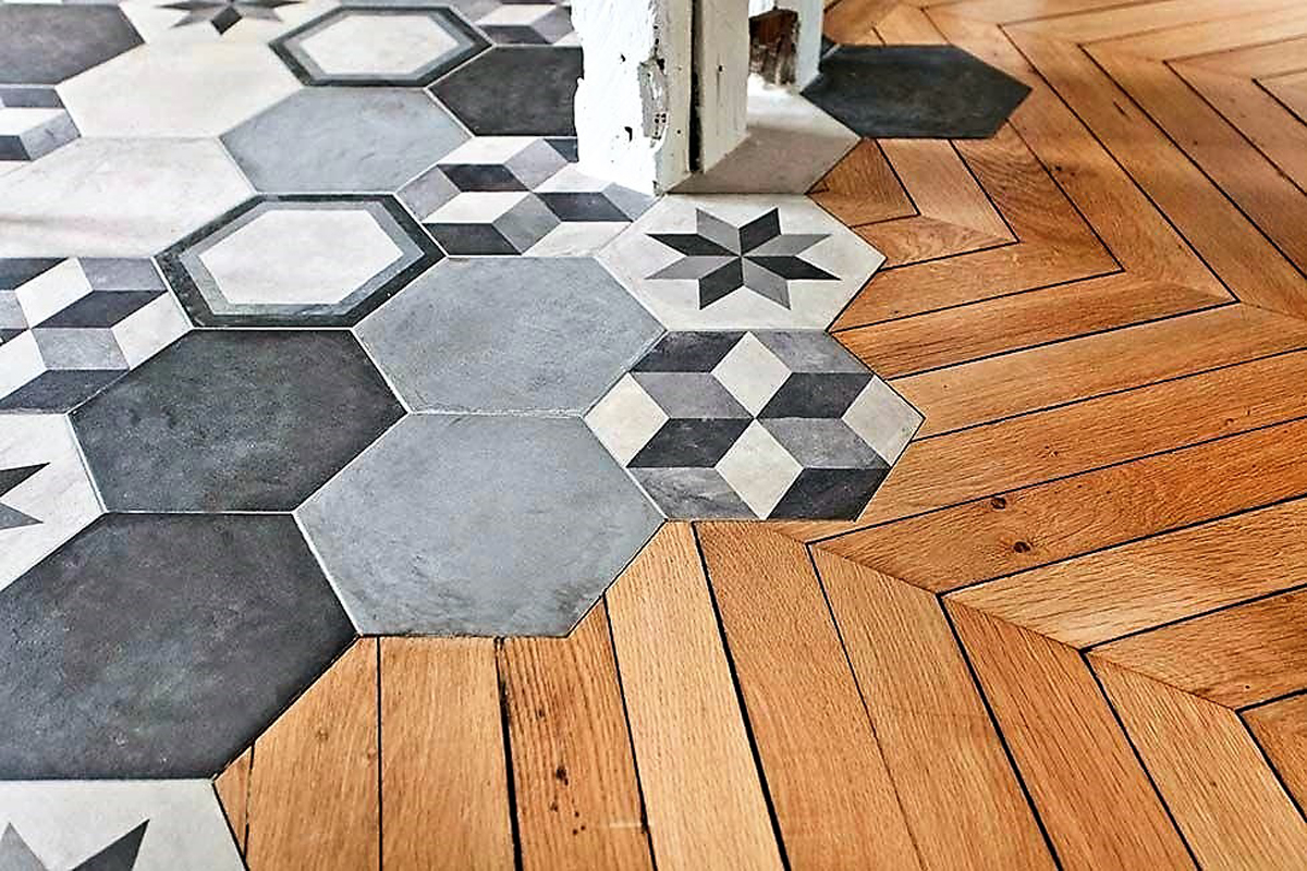 Parquet et carreaux de ciment le grand mix