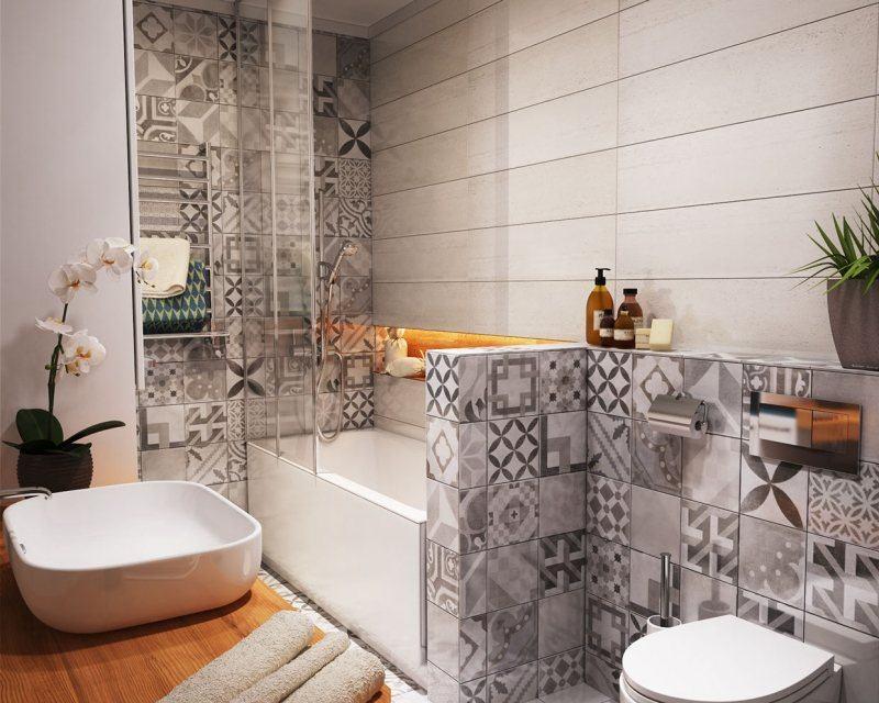 Carrelage mural salle de bain panneaux 3D et mosaïques