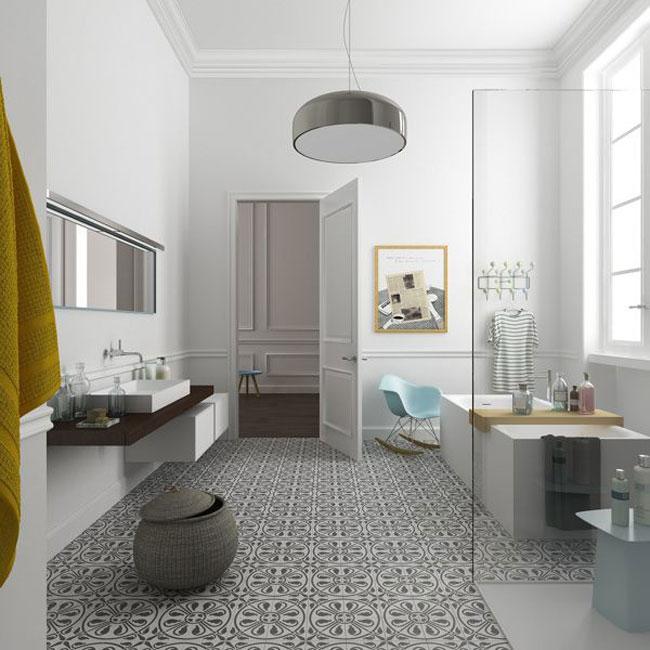 Salle de bain et carreaux de ciment