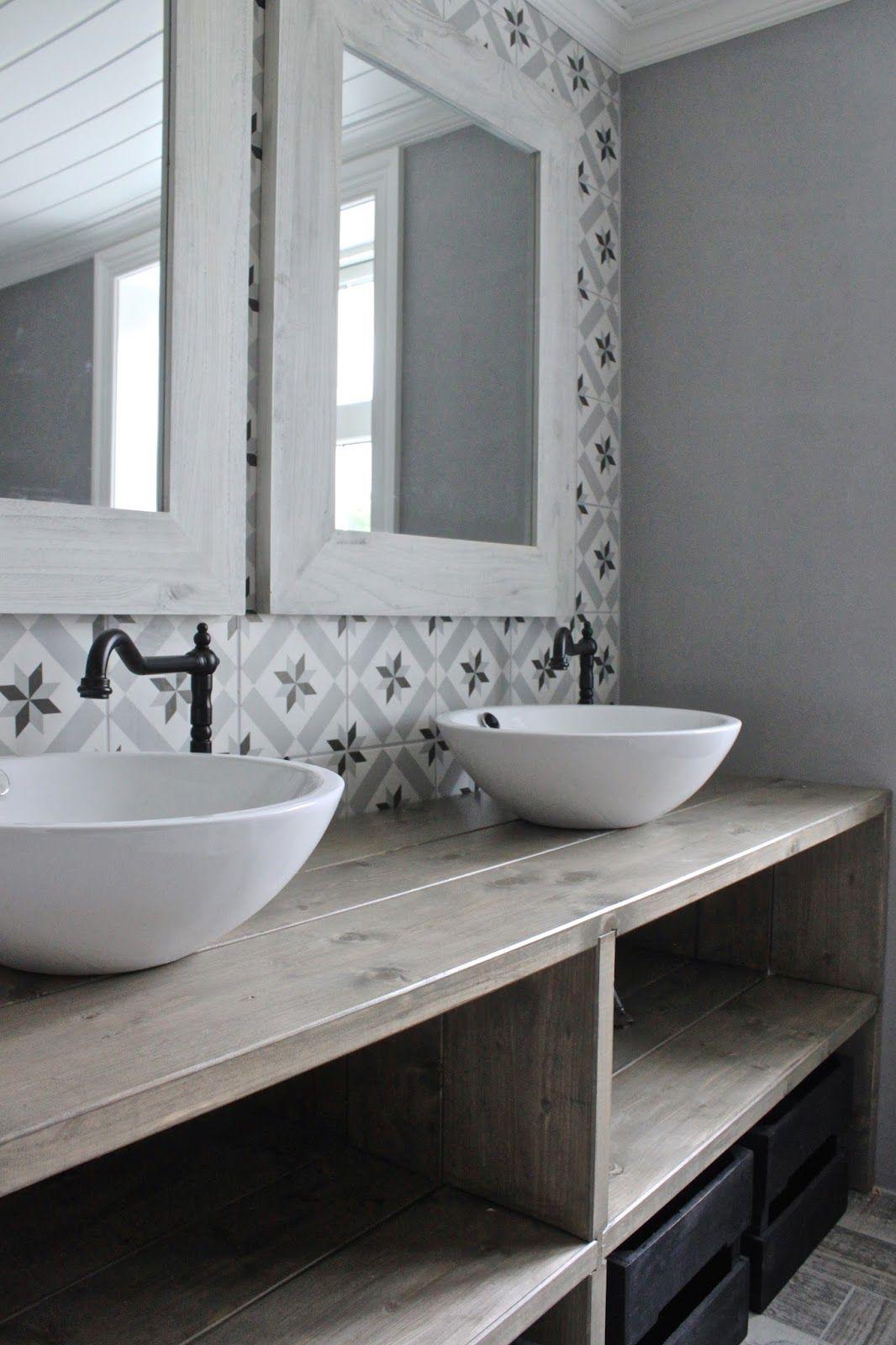 Salle de bain retro rustique carrelage graphiques esprit
