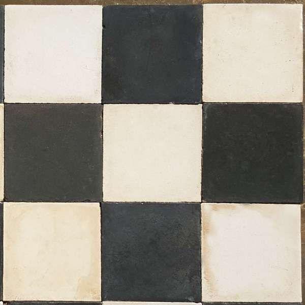 Carrelage Damier ciment ancien de couleur unie noir et