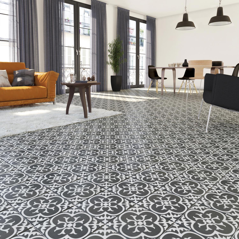 Carrelage De Ciment Carrelage sol Et Mur Noir Blanc Effet Ciment Gatsby L 20 X