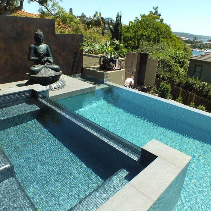 carrelage piscine en emaux de verre Ezarri INOX
