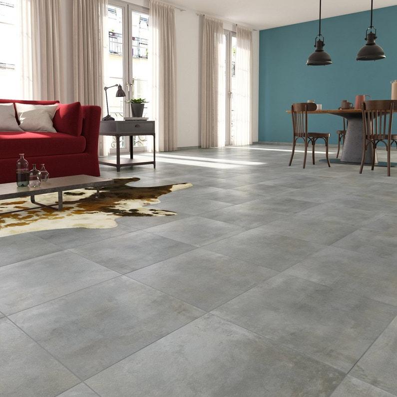 Carrelage sol et mur gris clair effet béton Laiton l 45 x