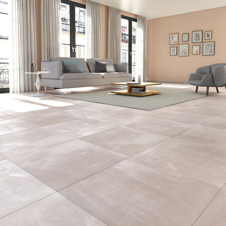 Carrelage sol et mur gris clair effet béton Matinon l 60 x