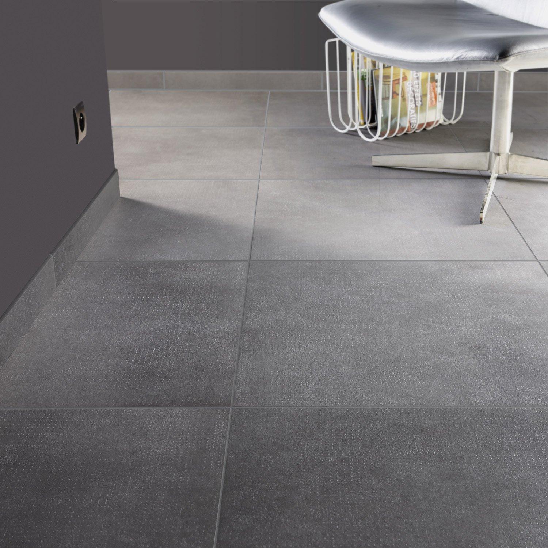 Carrelage sol et mur gris fer effet béton Asphalte l 60 x