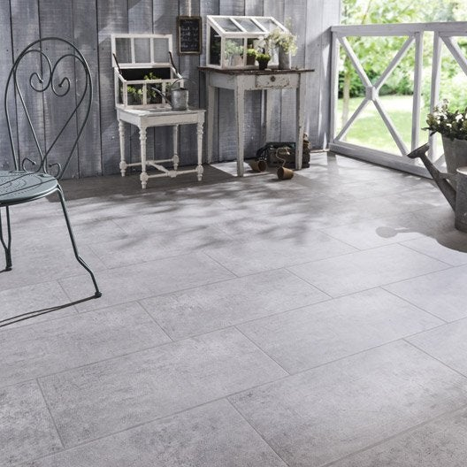 Carrelage sol gris effet béton Alma l 30 x L 60 cm
