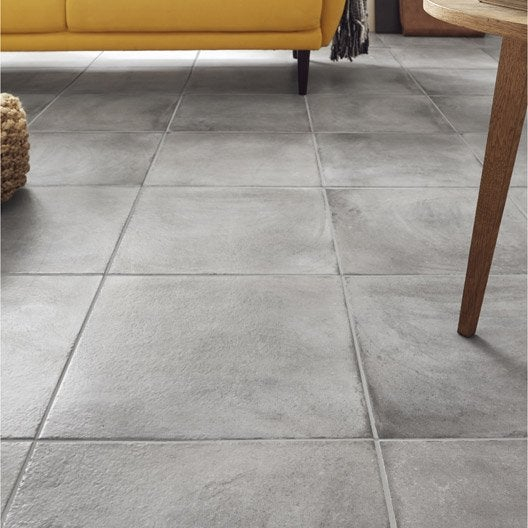 Carrelage sol gris effet béton l 45 x L 45 cm