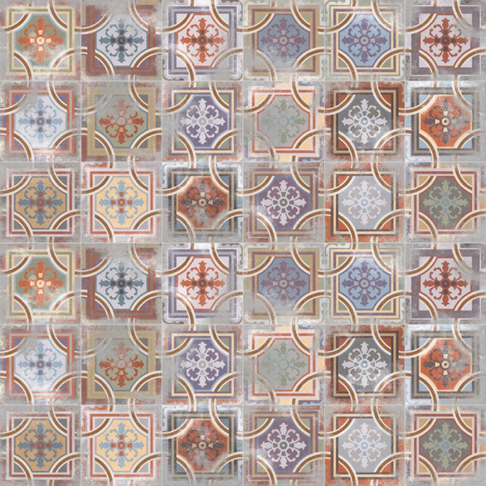 Carrelage imitation anciens carreaux de ciment décor beige