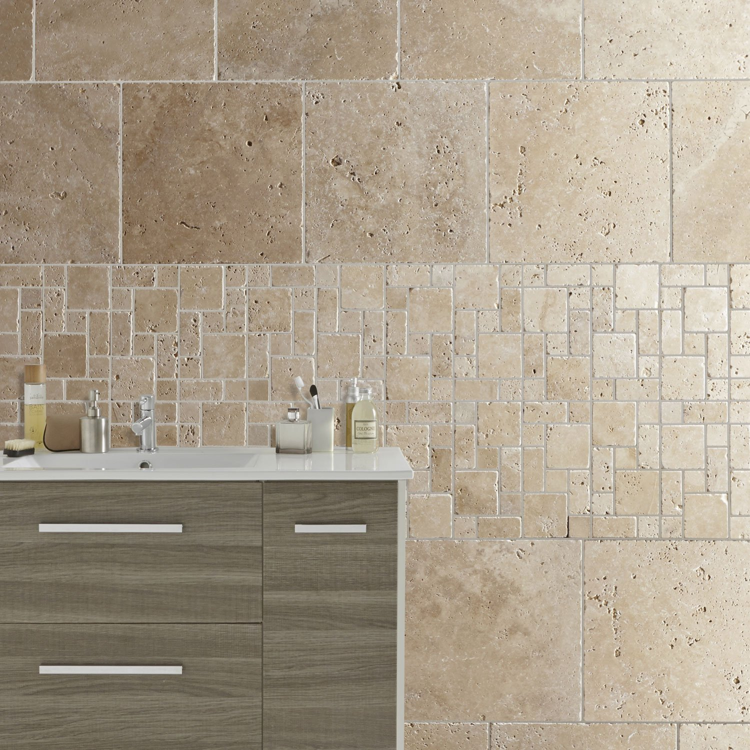 Travertin sol et mur beige effet pierre Travertin l 40 6 x